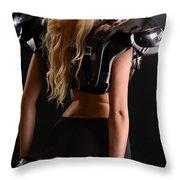 Football Girl Throw Pillow by Jt PhotoDesign
