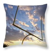 Football Goal At Sunset Throw Pillow by Olivier Le Queinec