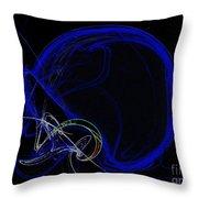 Football Helmet Blue Fractal Art Throw Pillow by Andee Design