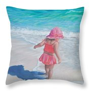 Footprints in the Sand Throw Pillow by Holly Kallie