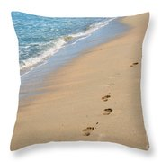 Footprints In The Sand Throw Pillow by Juli Scalzi