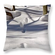 Footprints In The Snow Throw Pillow by Louise Heusinkveld