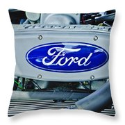 Ford Engine Emblem Throw Pillow by Jill Reger