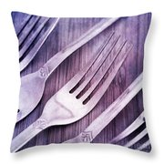 Forks Throw Pillow by Priska Wettstein