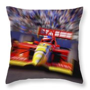 Formula Racing Car At Speed Throw Pillow by Don Hammond