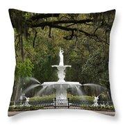 Forsyth Park Fountain - D002615 Throw Pillow by Daniel Dempster