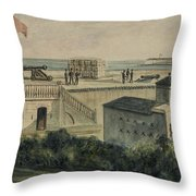 Fort Moultrie Circa 1861 Throw Pillow by Aged Pixel