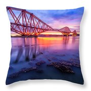 Forth Rail bridge stunning sunrise Throw Pillow by John Farnan