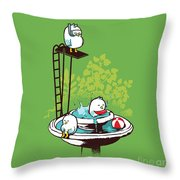 Fountain Pool party Throw Pillow by Budi Kwan