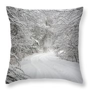 Four Wheel Winter Throw Pillow by John Haldane