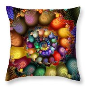 Fractal Textured Spiral Throw Pillow by Peggi Wolfe