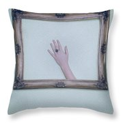 Framed Hand Throw Pillow by Joana Kruse