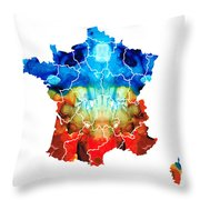 France - European Map By Sharon Cummings Throw Pillow by Sharon Cummings