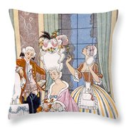 France In The 18th Century Throw Pillow by Georges Barbier