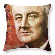 Franklin D. Roosevelt Throw Pillow by Corporate Art Task Force