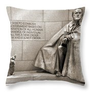 Franklin Delano Roosevelt Memorial - Bits and Pieces 7 Throw Pillow by Mike McGlothlen