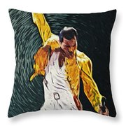 Freddie Mercury Throw Pillow by Taylan Soyturk