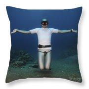 Freediver Underwater Throw Pillow by Hagai Nativ