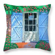 French Farm Yard Throw Pillow by Magdalena Frohnsdorff
