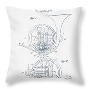 French Horn Patent From 1914 - Blue Ink Throw Pillow by Aged Pixel