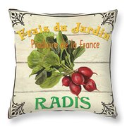French Vegetable Sign 1 Throw Pillow by Debbie DeWitt