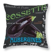 French Veggie Labels 4 Throw Pillow by Debbie DeWitt