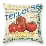French Veggie Sign 3 Throw Pillow by Debbie DeWitt