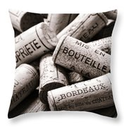 French Wine Corks Throw Pillow by Olivier Le Queinec