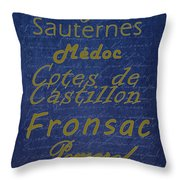 French Wines - 2 Champagne And Bordeaux Region Throw Pillow by Paulette B Wright