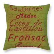 French Wines - 4 Champagne And Bordeaux Region Throw Pillow by Paulette B Wright