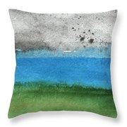Fresh Air- Landscape Painting Throw Pillow by Linda Woods