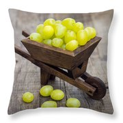 Fresh Green Grapes In A Wheelbarrow Throw Pillow by Aged Pixel