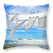 Fresh Laundry Throw Pillow by Donna Doherty
