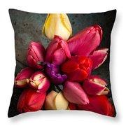 Fresh Spring Tulips Still Life Throw Pillow by Edward Fielding