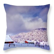 Freshly Fallen Snow on the Ranch Throw Pillow by Teri Virbickis