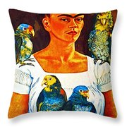 Frida in Tlaquepaque Throw Pillow by Mexicolors Art Photography