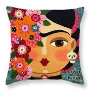 Frida Kahlo With Flowers And Skull Throw Pillow by LuLu Mypinkturtle
