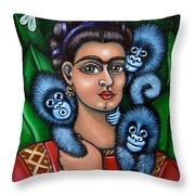 Fridas Triplets Throw Pillow by Victoria De Almeida