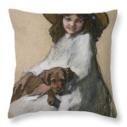 Friends Throw Pillow by Elizabeth Adela Stanhope Forbes