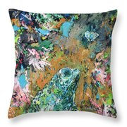 Frog And Fly Throw Pillow by Fabrizio Cassetta