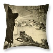 Frogs And Candle Throw Pillow by Philip Ralley