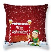 Frohe Weihnachten Sign Christmas Elf Winter Landscape Throw Pillow by Frank Ramspott