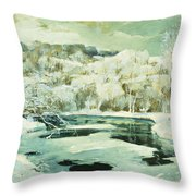 Frosted Trees Throw Pillow by Jonas Lie