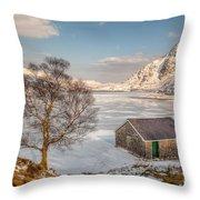 Frozen Lake Ogwen Throw Pillow by Adrian Evans