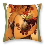 Fruit Throw Pillow by Alphonse Maria Mucha