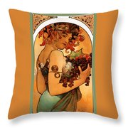 Fruit Throw Pillow by Alphonse Maria Mucha