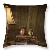 Fruit And Books Throw Pillow by Erik Brede
