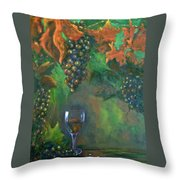 Fruit Of The Vine Throw Pillow by Sandra Cutrer