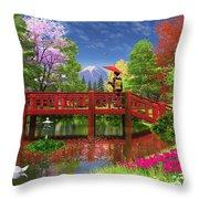 Fuji Lake Throw Pillow by Dominic Davison