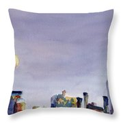 Full Moon And Empire State Building Watercolor Painting Of Nyc Throw Pillow by Beverly Brown Prints